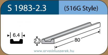 LABTICIAN S1983-2.3 Retina Implantátum - Profilcsík alakú Szilikon szivacs 2,3mm x 6,4mm x 80mm 5db/doboz - 516G Style