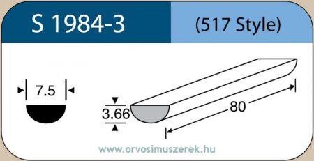 LABTICIAN S1984-3 Retina Implantátum - Félkör alakú Szilikon szivacs 3,66mm x 7,5mm x 80mm 5db/doboz - 517 Style