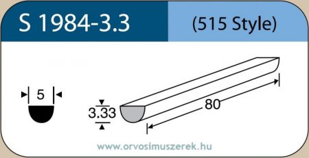 LABTICIAN S1984-3.3 Retina Implantátum - Félkör alakú Szilikon szivacs 3,33mm x 5,0mm x 80mm 5db/doboz - 515 Style