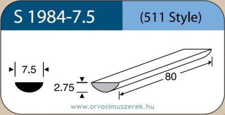 LABTICIAN S1984-7.5 Retina Implantátum - Félkör alakú Szilikon szivacs 2,75mm x 7,5mm x 80mm 5db/doboz - 511 Style