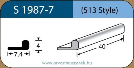 LABTICIAN S1987-7 Retina Implantátum - L alakú Szilikon szivacs 4,0mm x 7,4mm x 80mm 5db/doboz - 513 Style