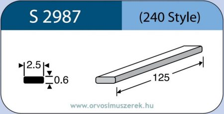 LABTICIAN S2987 Retina Implantátum - Cerclage Szilikon szalag 0,6mm x 2,5mm x 125,0mm 5db/doboz - 240 Style